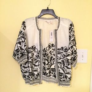 Chico's Embroidered Smocked 3/4 jacket NWT!